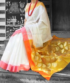 Designer Handwoven Woven Chanderi Silk Saree   India1001.com