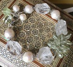 Green Amethyst,Pearls, Rhinestones with Silver findings bracelet