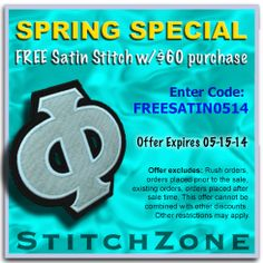 StitchZone Spring Special Free Satin Stitching w/ $60 purchase Enter Code: FREESATIN0515 expires 05-15-14 #stitchzone #greeklife #greek #clothing #apparel #discount #sale #fraternity #sorority