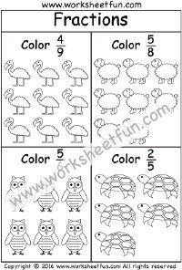 Coloring Fractions – 3 Worksheets