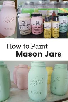 Directions for how to paint mason jars with chalk paint and give them a distressed look. Instructions for how to paint and distress mason jars to use as centerpieces or decorations. Chalk painted mason jars are an easy diy craft project. Mason Jar Projects, Mason Jar Crafts, Mason Jar Diy, Uses For Mason Jars, Mason Jars For Weddings, Crafts With Jars, Pickle Jar Crafts, Kerr Mason Jars, Mason Jar Bathroom