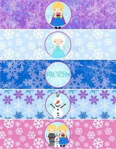 Frozen Party, Frozen Printable, Water Bottle, Bottle Label, Napkin Ring, Snow Princess, Winter Party, Frozen Birthday, INSTANT DOWNLOAD on Etsy, $4.00