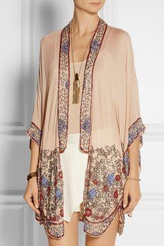 Anna Sui bead-embellished crinkled silk-chiffon kimono jacket