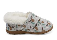 For O ~ so cute for next winter and on sale! Drizzle Grey Moose Tiny TOMS Slippers