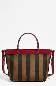 Fendi 'Pequin' Logo Jacquard Tote, Small available at #Nordstrom