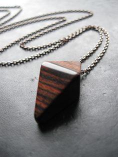 Geometric Wood Pendant Necklace.