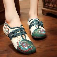 $34.00 Chinese Embroidered Flower Mary Janes Buckle Casual Flat Loafers   #WOMENFASHION #WOMENSHOES #LOAFERS