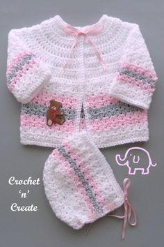 Crochet Baby Cardigan Free Pattern, Crochet Baby Jacket, Crochet Baby Sweaters, Baby Boy Knitting Patterns, Newborn Crochet Patterns, Baby Sweater Patterns, Baby Patterns, Crocheted Baby Hats, Crochet Bebe