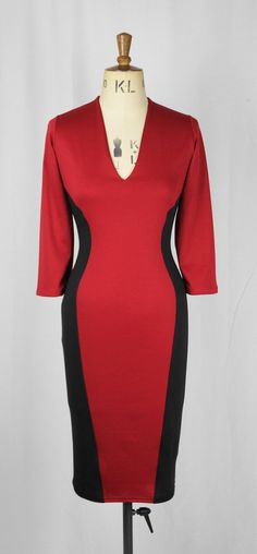 Baylis & Knight Black Red PLUNGE V Neck 3/4 by BaylisandKnight Pin Up, Low Cut Dresses, You Look Like, Size 16, Knight, Retro Vintage, High Neck Dress, V Neck, Burlesque