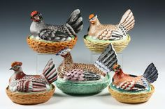 Collection Of Five Large 19th C English Staffordshire Colorful Hens On Nest.