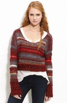Free People Red Limbo Crop Sweater - $49