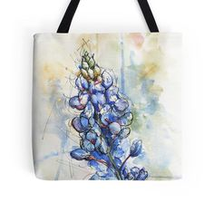 Art tote bag printed with a Central Texas Austin area nature scene of prickly pear cactus, fall yellow flowers and leaves - original watercolor art by Ela Steel.  These are sturdy totes! I use mine as a grocery bag.  Printing is double sided, all the way to the edges.  Tote bag info: - Selected design printed on both sides - Three square sizes available: 13, 16, 18 (33cm, 41cm, 46cm) - 1 wide super strong cotton shoulder strap (14 length) - Soft yet hard-wearing 100% spun Polyester Poplin…