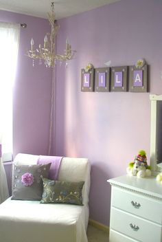 Baby girls room....if next baby is a girl I'm doing purple and we have the name Lila picked out! (Just spelt different)