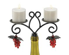 Two-votive wine bottle candelabra with grape charms, ~$14
