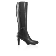 Radar Dry, Russell& Bromley. These knee-high boots by Aquatalia in polished weather resistant black calf leather are detailed with a statement buckle trim, elastic side panels and a stacked heel for the ultimate in chic, cold-weather dressing. Featuring a full length zip for a clean fit and elongated silhouette, style with oversized tailoring and a sharp tote for perfect, ladylike style.