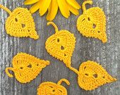 Set of 6 yellow  leaves Crochet  Small autumn leaves
