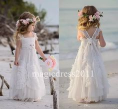 Gorgeous White Flower Girls' Dresses For Wedding 2016 Square Lace Ruffles Kids Formal Wear Sleeveless Long Beach Girl'S Pageant Gowns Dresses For Flower Girl Dresses For Flower Girl In Wedding From Magicdress2011, $93.4  Dhgate.Com
