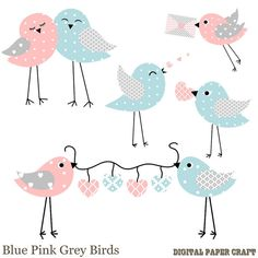 Patterned Bird clipart / Blue Grey Pink and by DigitalPaperCraft