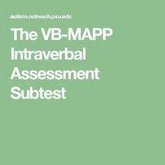 The VB-MAPP Intraverbal Assessment Subtest