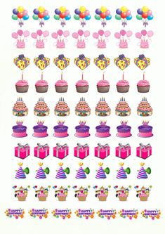 70 Printable BIRTHDAY Stickers 1'' by FantasyPlanners on Etsy