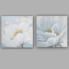 Pintada a mano Floral/Botánico Cuadrado, Clásico Estilo europeo Lona Pintura al óleo pintada a colgar Decoración hogareña Dos Paneles 2018 - $1732.88