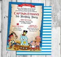 Jake and the Neverland Pirates Invitations: Printable Boys Custom Pirate Birthday Party Invitation, FREE BACK. ~Click to see printables too~...