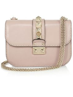 """""""Pink is the new black! This pale blush Valentino chain bag is ladylike and edgy and goes with everything."""""""