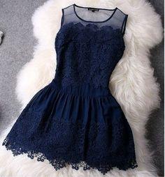 Vestido Godê Renda Azul Marinho