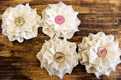 Small Burlap Flowers - Hand Rolled Flowers by CornerOfTheShop on ...