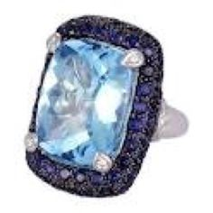 Blue topaz with sapphire trim