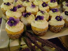 Lemon custard filled  Bridal Shower cupcakes with purple violet