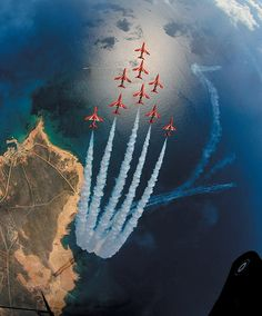 Iconic ... Red Arrows snapped in Eagle formation over Akrotiri, Cyprus - I remember free flying displays for a month every year when I lived there in the 1980's :)