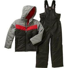 Faded Glory Boys Snowsuit Snow Suit Ski Pants Bibs Coat New black Red Puffer NWT #FadedGlory #SnowsuitSkisuit #Everyday