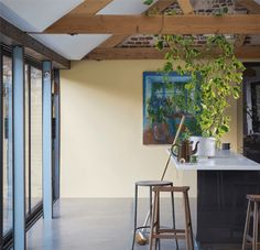 Farrow & Ball Hay, with Wimborne White and Oval Room Blue Farrow Ball, Farrow And Ball Paint, Wall Exterior, Interior And Exterior, Interior Design, James White, Colour Schemes, Color Trends, Color Palettes