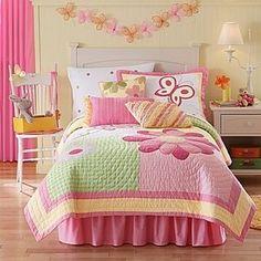... Full Queen Quilt Girls Bedding Set Butterfly Flower Pink Yellow | eBay