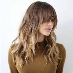 Brunette Balayage for Thick Hair - 50 Cute Long Layered Haircuts with Bangs 2019 - The Trending Hairstyle Long Face Hairstyles, Haircuts With Bangs, Diy Hairstyles, Layered Haircuts, Cute Long Haircuts, Full Fringe Hairstyles, 2018 Haircuts, Medium Haircuts, Curly Haircuts