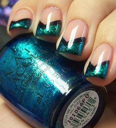 Here I am presenting 10 black & green gel nail art designs & ideas of 2016 that you would love to apply on your nails. How To Do Nails, Fun Nails, Pretty Nails, Glitter Nails, Metallic Nails, Black Nails, Acrylic Nails, French Nails, Chloe Nails