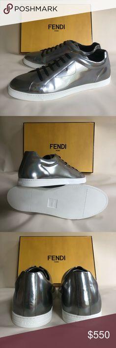 dd27ce676f0b9b NWT FENDI Men s Metallic Leather Low-Top Sneakers Brand new FENDI low-top  sneaker