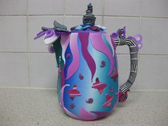 polymer clay teapot ~~~THESE COLORS ARE FABULOUS! WHAT ABOUT COVERING VOTIVE CANDLE JARS LIKE THIS?~~~