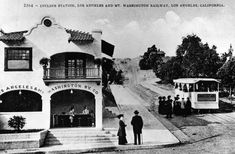 (ca. 1910) - The Los Angeles and Mount Washington Railway Incline Station is a confection stand and waiting room for passengers of the Railway. The Railway was located on the southwest corner of Avenue 43 and Marmion Way and was in operation from early 1909 until January 9, 1919.