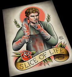 Dexter (Slice of Life) Tattoo Flash Art Print by ParlorTattooPrints on Etsy https://www.etsy.com/listing/450422586/dexter-slice-of-life-tattoo-flash-art