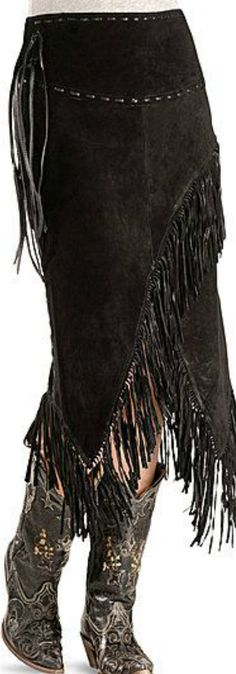 Fringed leather cowgirl skirt
