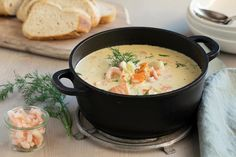 Kremet fiskesuppe med reker | Coop Marked Cheeseburger Chowder, Chili, Soup, Ethnic Recipes, Chile, Soups, Chilis