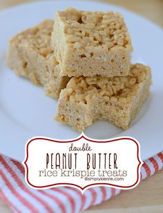 Doubly delicious, these Double Peanut Butter Rice Krispie Treats are sure to please! Super easy to make, they're a hit with kids and adults alike!