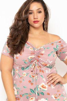 2b86b995c1cec Plus Size Floral M-Slit Meg Dress- Mauve