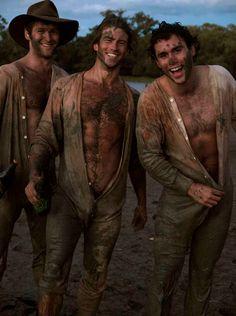 Foot gay male mud