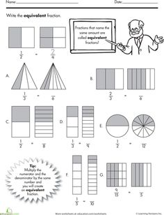 Find the Equivalent Fraction Worksheet -- Different than the one shown. Easy warm up for him to do on his own. Fractions Équivalentes, Teaching Fractions, Fractions Worksheets, Equivalent Fractions, Teaching Math, Dividing Fractions, Second Grade Math, 4th Grade Math, 3rd Grade Math Worksheets