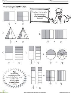 Worksheets: Find the Equivalent Fraction