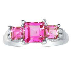 2ct Pink Topaz & .06ct Diamond Ring in 14k White Gold