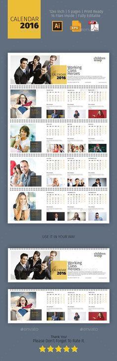 2016 Calendar Template EPS, AI #design Download: http://graphicriver.net/item/2016-calendar/13066604?ref=ksioks